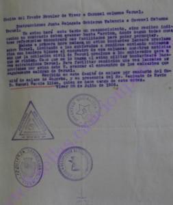 Comité del Frente Popular de Viver a coronel columna Teruel