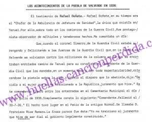 Declaración de Rafael Doñate sobre el suicidio del comandante Francisco Rios Romera