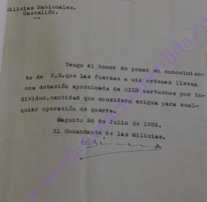 Informe dotación munición Milicias Nacionales firmado en Sagunto por el Capitán Sirera