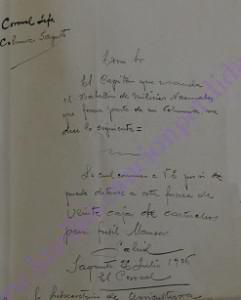 Informe sobre dotación municiones Coronel Hilario Fernández Bujanda