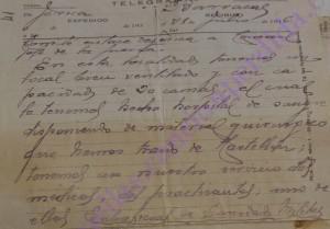Telegrama desde Jérica a Barracas, ofreciendo Hospital con 20 camas